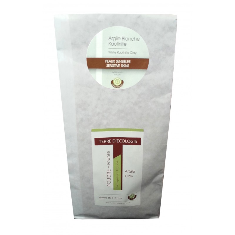 Argile blanche kaolinite en sachet 1kg